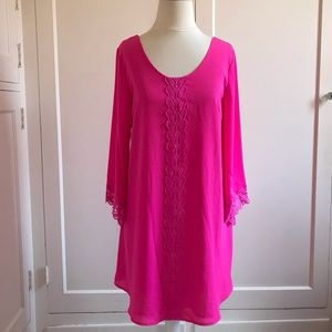 ASTR Bright Pink Lace Shift Dress Small New